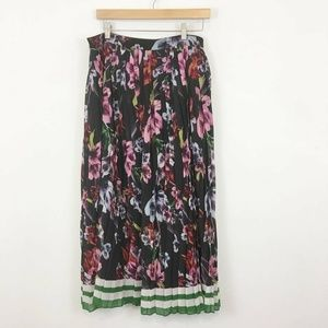 ASOS Plus Pleated Floral Striped Maxi Skirt 18